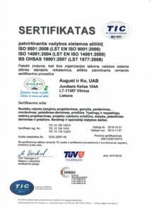 valymo įrenginio sertifikatas